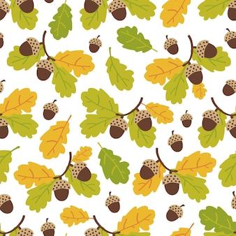 Padrão sem emenda de ramos de carvalho e bolotas em um fundo brancopadrão de outono ilustração em vetor