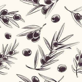 Padrão sem emenda de ramos de oliveira. azeitonas mediterrânicas ramificação textura.