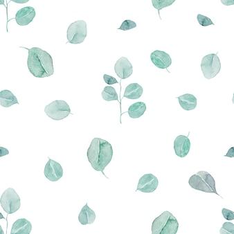 Padrão sem emenda de ramos e folhas de eucalipto em aquarela