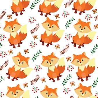 Padrão sem emenda de raposa bonito dos desenhos animados