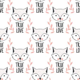 Padrão sem emenda de raposa de moda. ilustração de raposas bonitinha no estilo de desenho. fundo de animais dos desenhos animados. estilo doodle. ideal para tecido, papel de parede, papel de embrulho, têxtil, roupa de cama, impressão de t-shirt.