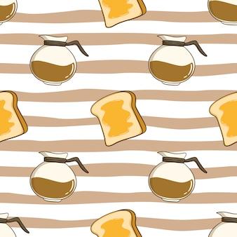 Padrão sem emenda de recipiente de café com torradas de manteiga com estilo doodle