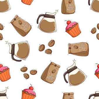 Padrão sem emenda de recipiente de café em saco de café e bolinho com estilo doodle
