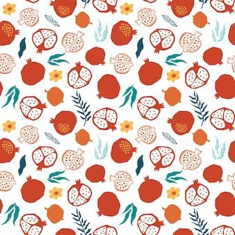 Padrão sem emenda de romã com folhas, flores. ilustração em vetor floral de doodle abstrato e frutas escandinavas. padrão armênio granada. o elegante modelo para estampas de moda.