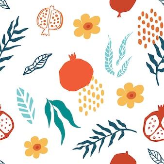 Padrão sem emenda de romã com folhas, flores. ilustração em vetor floral de doodle abstrato e frutas escandinavas. padrão armênio granada. o elegante modelo para estampas de moda. Vetor Premium
