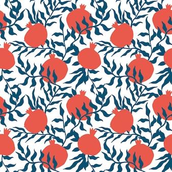 Padrão sem emenda de romã com folhas. ilustração em vetor floral de doodle abstrato e frutas escandinavas. padrão armênio granada. o elegante modelo para estampas de moda.