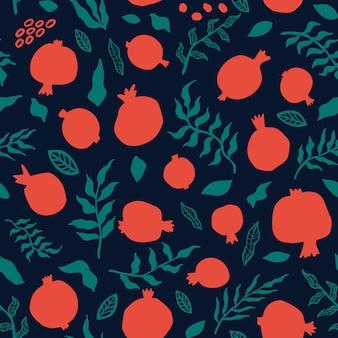 Padrão sem emenda de romã com folhas. ilustração em vetor floral para cartão shana tova. cartão de rosh hashanah, símbolo do feriado uma romã. frutas abstratas em fundo escuro.