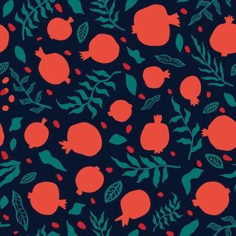 Padrão sem emenda de romã com folhas. ilustração em vetor floral para cartão shana tova. cartão de rosh hashanah, símbolo do feriado uma romã. padrão de repeart sem emenda de frutas abstratas.