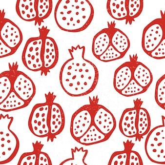 Padrão sem emenda de romã com grãos. ilustração em vetor floral de doodle abstrato e frutas e sementes escandinavas. padrão armênio granada. o elegante modelo para estampas de moda.