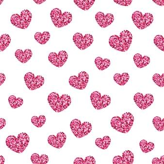Padrão sem emenda de rosa glitter dourados coração brilhante.