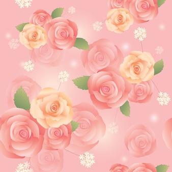 Padrão sem emenda de rosa rosa