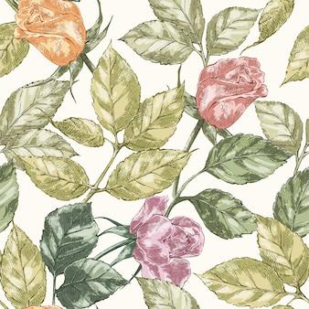 Padrão sem emenda de rosa vintage