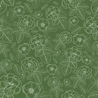 Padrão sem emenda de rosas com folhas, branco sobre verde