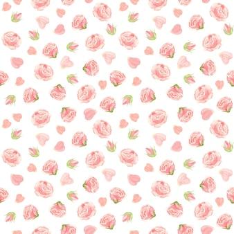 Padrão sem emenda de rosas cor de rosa botões de flores e pétalas de rosa