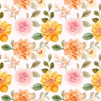 Padrão sem emenda de rosas cor de rosa e laranja com aquarela