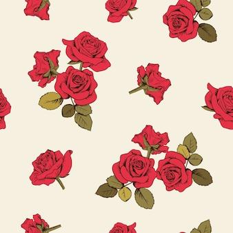 Padrão sem emenda de rosas vermelhas