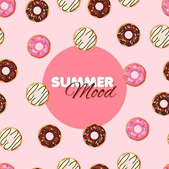 Padrão sem emenda de rosquinha de desenho animado chocolate baunilha e rosquinha de morango clima de verão