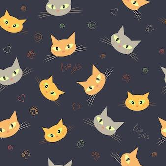 Padrão sem emenda de rostos de gato fofo