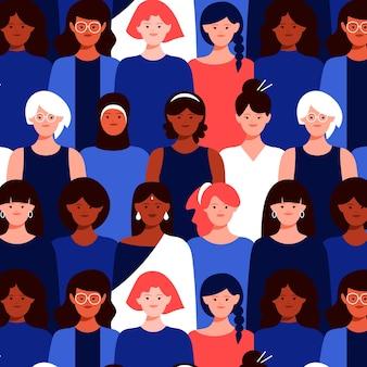 Padrão sem emenda de rostos de mulheres