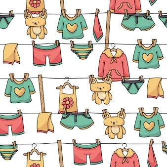 Padrão sem emenda de roupas penduradas