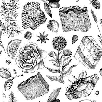 Padrão sem emenda de sabão desenhado à mão cenário de ingredientes naturais e materiais aromáticos