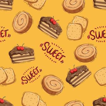 Padrão sem emenda de saboroso biscoito e fatia de bolo com doodle ou estilo de desenho à mão