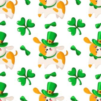 Padrão sem emenda de saint patrick dia - cachorro ou filhote de cachorro em chapéu e gravata borboleta, trevo ou trevo, desenhos animados kawaii