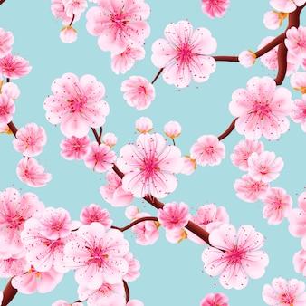 Padrão sem emenda de sakura rosa.