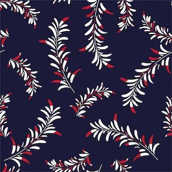 Padrão sem emenda de samambaia de palma, ramos naturais de folhagem, folhas brancas e vermelhas, estilo de mão desenhada de planta tropical