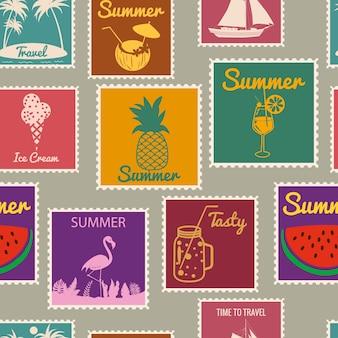 Padrão sem emenda de selos postais férias de verão sinais de fundo retrô viajam tour exótico
