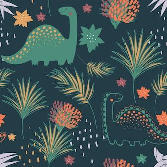 Padrão sem emenda de selva com dinossauros engraçados e elementos tropicais. ilustração em vetor desenhada à mão