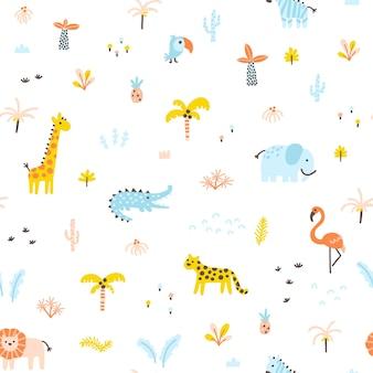 Padrão sem emenda de selva tropical animais e palmas estilo simples doodle escandinavo desenhado à mão