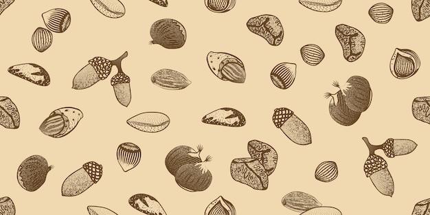 Padrão sem emenda de sementes orgânicas