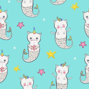 Padrão sem emenda de sereia de gato. gêmeos felizes. ilustração vetorial eps 10