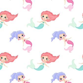 Padrão sem emenda de sereias bonito dos desenhos animados. padrão subaquático. padrão do oceano. padrão de conto de fadas.