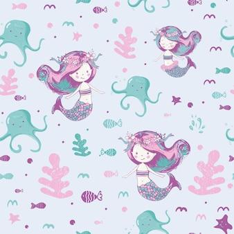 Padrão sem emenda de sereias fofas; pode ser usado para design de impressão de moda de estampa de bebê