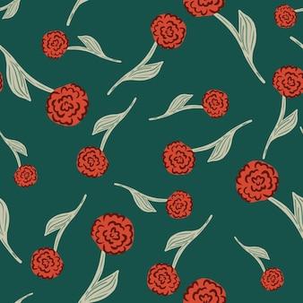 Padrão sem emenda de silhuetas aleatórias de rosas vermelhas no estilo doodle. fundo turquesa. impressão sazonal de verão. ilustração das ações. desenho vetorial para têxteis, tecidos, papel de embrulho, papéis de parede.