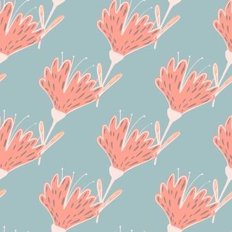 Padrão sem emenda de silhuetas com contornos de flores rosa pastel. fundo azul claro. impressão da natureza. ilustração das ações. desenho vetorial para têxteis, tecidos, papel de embrulho, papéis de parede.