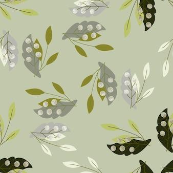 Padrão sem emenda de silhuetas de bagas e folhas aleatórias cinza, verde e preto