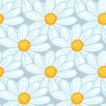 Padrão sem emenda de silhuetas de flor de margarida com contornos azuis aleatórios. desenho vetorial para têxteis, tecidos, papel de embrulho, papéis de parede.