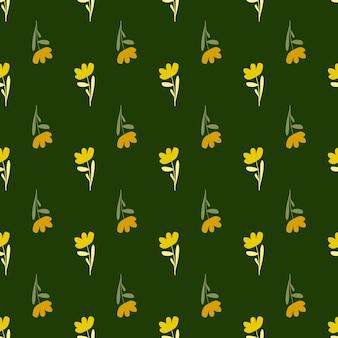 Padrão sem emenda de silhuetas de flores amarelas decorativas brilhantes
