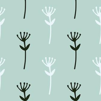 Padrão sem emenda de silhuetas de flores minimalistas. elementos botânicos preto e branco sobre fundo azul.