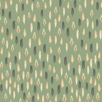 Padrão sem emenda de silhuetas de folhas pequenas. pano de fundo do tema floresta com fundo verde suave.