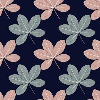 Padrão sem emenda de silhuetas de scheffler doodle de cor rosa e azul.