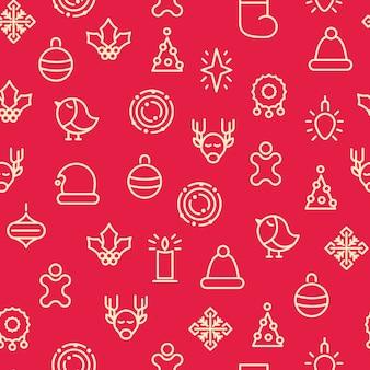 Padrão sem emenda de símbolos monótonos de feliz natal com diferentes tipos de presentes e brinquedos de azevinho