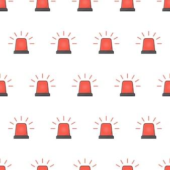Padrão sem emenda de sirene pisca-pisca vermelho. ilustração do tema da sirene de emergência
