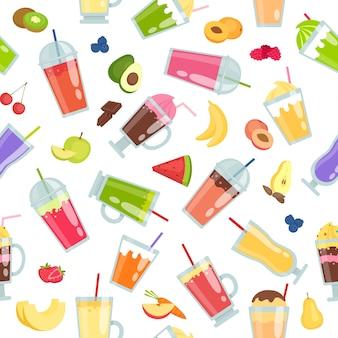 Padrão sem emenda de smoothie com cocktails de verão