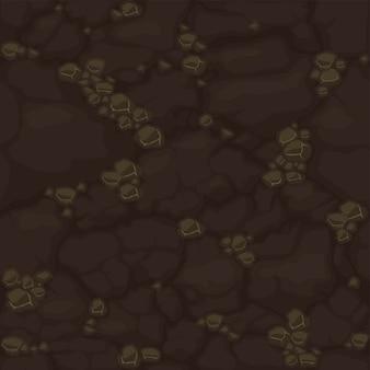 Padrão sem emenda de solo, textura de solo de sujeira marrom para interface do usuário do jogo. vector ilustração fundo pano de fundo terra orgânica para papel de parede.