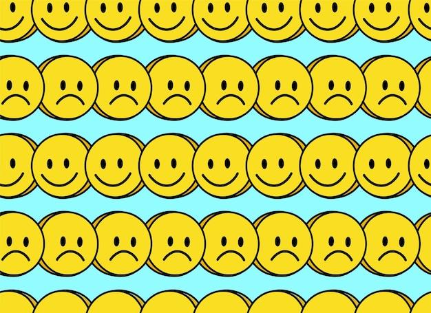 Padrão sem emenda de sorriso engraçado e rosto triste