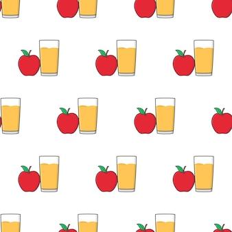Padrão sem emenda de suco de maçã em um fundo branco. ilustração em vetor tema apple